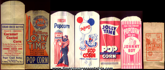 (7) Different Old Unused Advertising Popcorn Bags