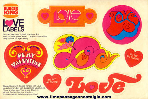 Old Burger King Advertising Premium Valentine Love Labels Sticker Sheet