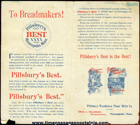 Uncut 1895 Pillsbury Flour Advertising Premium Paper Doll