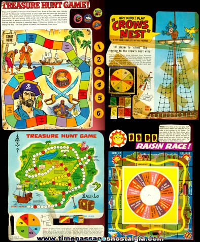 4) Old Cereal Box Back Games - TPNC