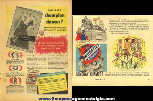 (6) 1940s Wheaties Cereal Magazine Advertisements