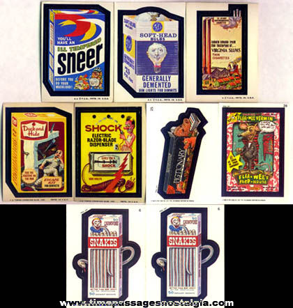 (9) Wacky Packages Bubble Gum Sticker Trading Cards