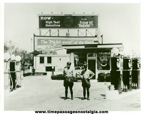 Large Old Shell Gasoline Station with Attendants Photograph