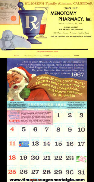 Complete 1967 Pharmacy Advertising Premium Calendar