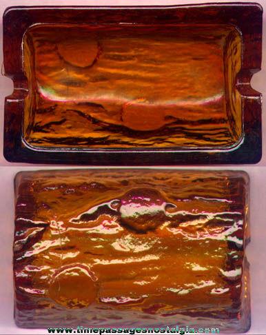 Old Amber Glass Log Cigarette Ashtray
