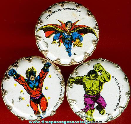 (3) 1970s Marvel Superhero Character Premium / Prize Toy Rings