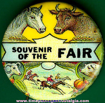 Colorful Old Celluloid Fair Souvenir Pin Back Button