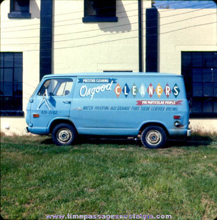 Old Dry Cleaners Advertising Chevy Delivery Van Photograph Slide