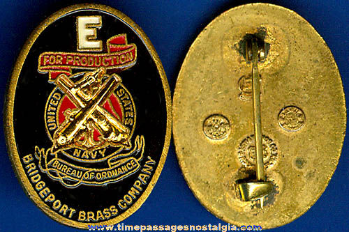 World War II Bridgeport Brass Company Navy Production Award Pin