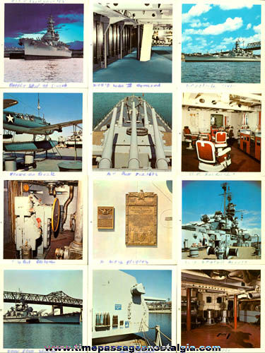 (Set of 12) Old U.S.S. Massachusetts (BB-59) Souvenir Color Photographs