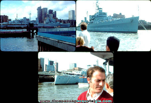(3) 1970s H.M.S. Belfast (C-35) British Navy Cruiser Ship Photograph Slides