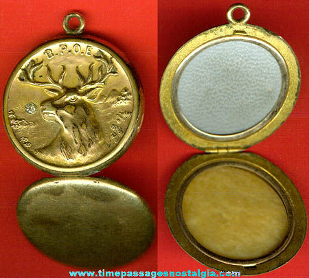 Old Elks Fraternal Jewelry Locket With Stone