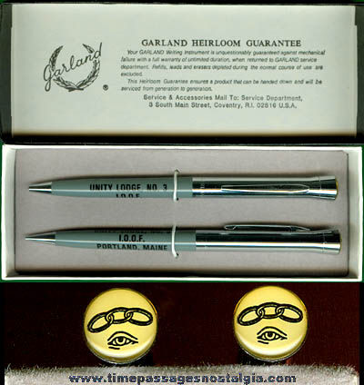 Old Unused Boxed Independent Order Of Odd Fellows Fraternal Pen & Pencil Set