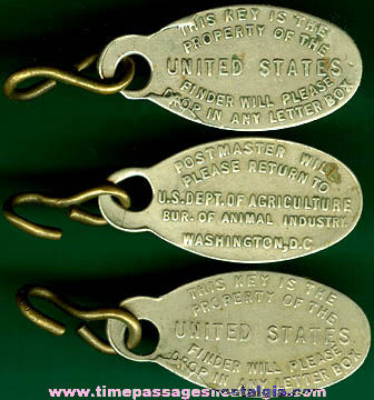 (3) Old Metal U.S. Government Identification Key Tags