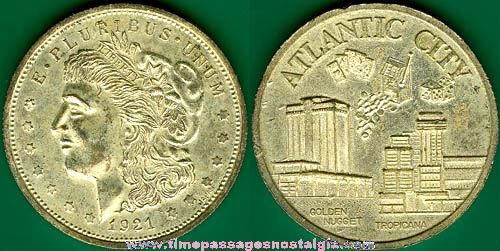 Atlantic City, New Jersey Casino Souvenir Morgan Dollar Token Coin