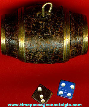Old Miniature Brass Barrel Charm With Dice