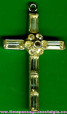 Old Sterling Silver Stanhope Viewer Cross With Stones