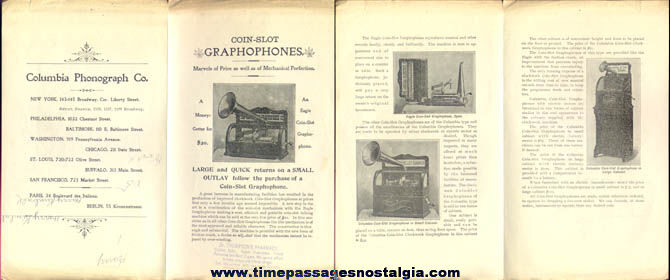 Old Coin Slot Graphophone Advertising Brochure