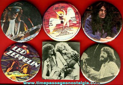 (6) Different Old Led Zeppelin Pin Back Buttons