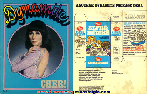 1976 Dynamite Magazine with Cher Poster & Article
