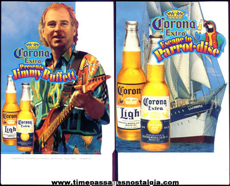 Unused Jimmy Buffett / Corona Beer Advertising Table Tent