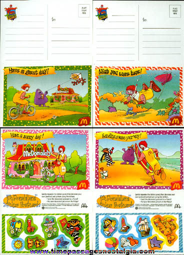 (30) Unused McDonalds McDonaldland Sticker Post Cards