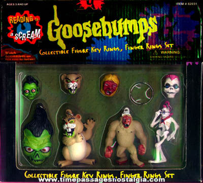 Complete Unopened Set Of Goosebumps Character Toy Rings & Key Chains