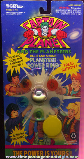 Unopened ©1991 Captain Planet Light & Sound Power Toy Ring