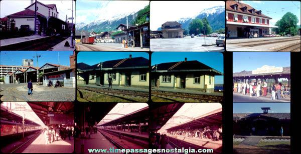 (12) Old Train Railroad Station Photograph Slides