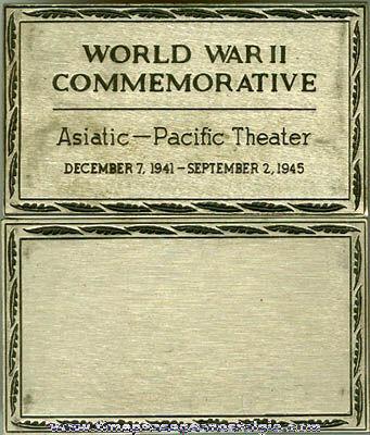 World War II Asiatic - Pacific Theater Colt Commemorative Metal Plate
