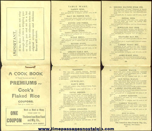 Old Cook's Flaked Rice Advertising Premium Cook Book