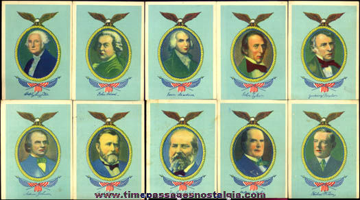 (10) Colorful Old United States President Cards