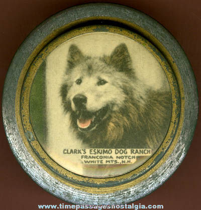 Old Clark's Eskimo Dog Ranch Advertising Souvenir Tin Container