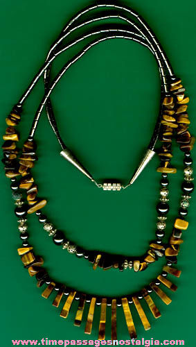 Nice Tiger's Eye Stone & Glass Bead Necklace