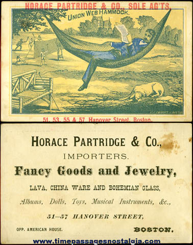 Old Horace Partridge & Company Boston Advertising Trade Card