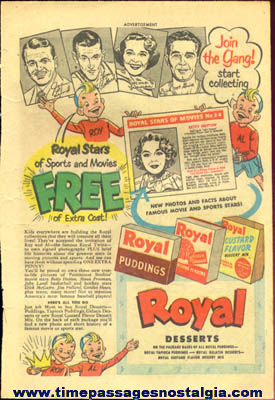 Old Royal Desserts Advertisement With Movie & Sports Star Premium Cards