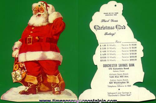 Old Die Cut Bank Advertising Santa Claus Christmas Club Hanger Ornament.