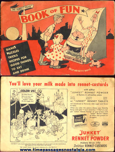1940 Junket Desserts Advertising Premium Fun Book