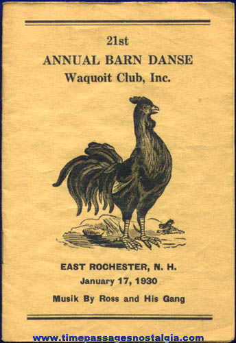 1930 East Rochester, New Hampshire Barn Dance Advertising Booklet