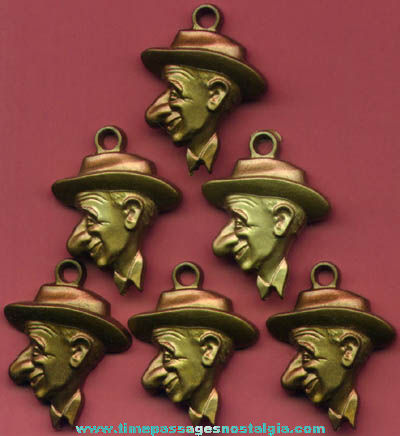 (6) Old Jimmy Durante Gum Ball Machine Prize Character Charms