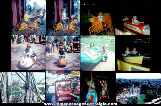 (12) Old Carnival & Amusement Park Ride Color Photograph Slides