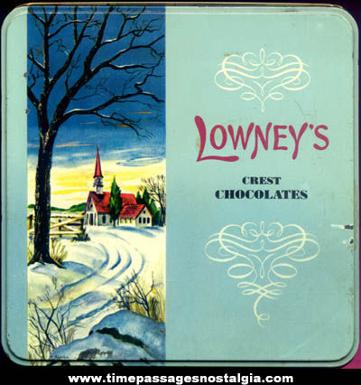 Colorful Old Lowney's Crest Chocolates Candy Tin Container
