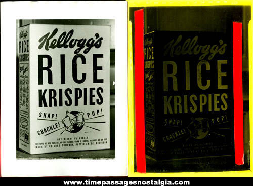 Old Kellogg's Rice Krispies Cereal Box Advertising Photograph & Negative