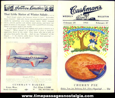 1941 Cushman's Bakery Bulletin with Uncut Airplane Card