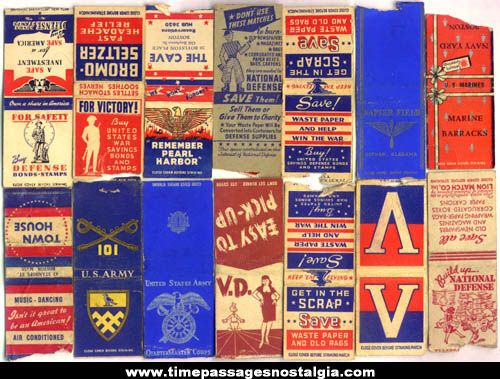 (14) Patriotic World War II Advertising Match Covers