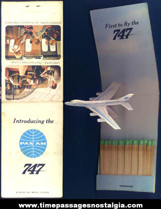 Old Unused Pan Am 747 Airplane Pop Up Advertising Match Book
