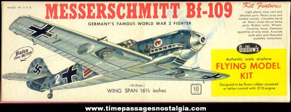 Old Unbuilt Guillows Messerschmitt Bf-109 German Fighter Plane Model Kit