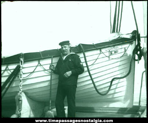 Early British Sailor & White Star Line Liverpool Boat Photograph Glass Slide