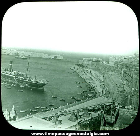 Early Malta Harbor & Ship Photograph Glass Slide