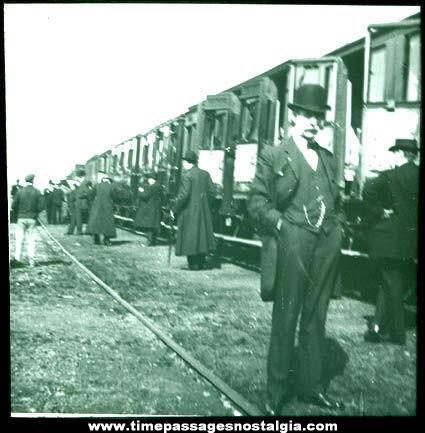 Early Train / Railroad Photograph Glass Slide